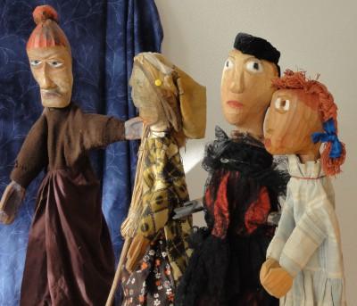 Georgette Klein: Gruppe von Handpuppen aus der Sammlung Hasler