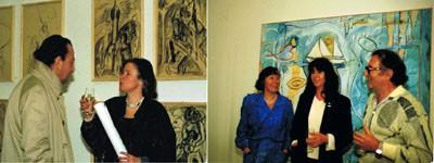 In der Galerie am Rindermarkt: Mit Josef Herzog vor Zeichnungen von Eugen Bollin (links), mit Lis Kocher und Max Amsler vor Bild von Lis Kocher (rechts), um 1988/89